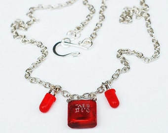 Red Cyberpunk Necklace- Red Capacitor Upcycled Jewelry, Found Object Jewelry, Geek Gift, Computer Jewelry, Electronic Jewelry, Industrial
