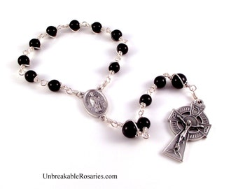 St Patrick St Brigid Rosary Chaplet In Black Onyx With Celtic Crucifix by Unbreakable Rosaries