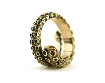 Octopus Tentacle Ring Golden Color Adjustable Ring Wrap Ring Boho Steampunk Jewelry - FRI005
