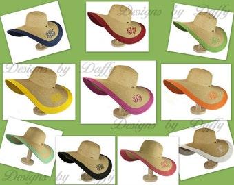 Monogrammed Floppy Hat - Wide Brim Sun Hat