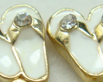 White Sandals Floating Charms-Flip Flops with Crystal  (Qty of 2) FREE SHIPPING!