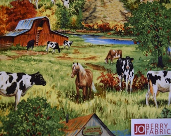 Farm Scene All Over from the Old Homestead Collection by Linda Picken for Blank Quilting.  Quilt or Craft Fabric.  Fabric by the Yard.