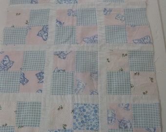 Pieced Flannel Doll Quilt Top, Unfinished
