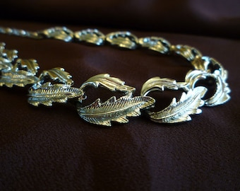 1950s Silver Tone Leaf Link Necklace