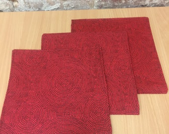 Fabric placemats, red placemats, table decor, home decor, Scandinavian design, gift