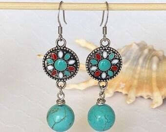 Turquoise Earrings Dangle Earrings Southwest Earrings Boho Earrings Dangle Statement Earrings Bohemian Summer Dangle Drop Earrings Gift Her