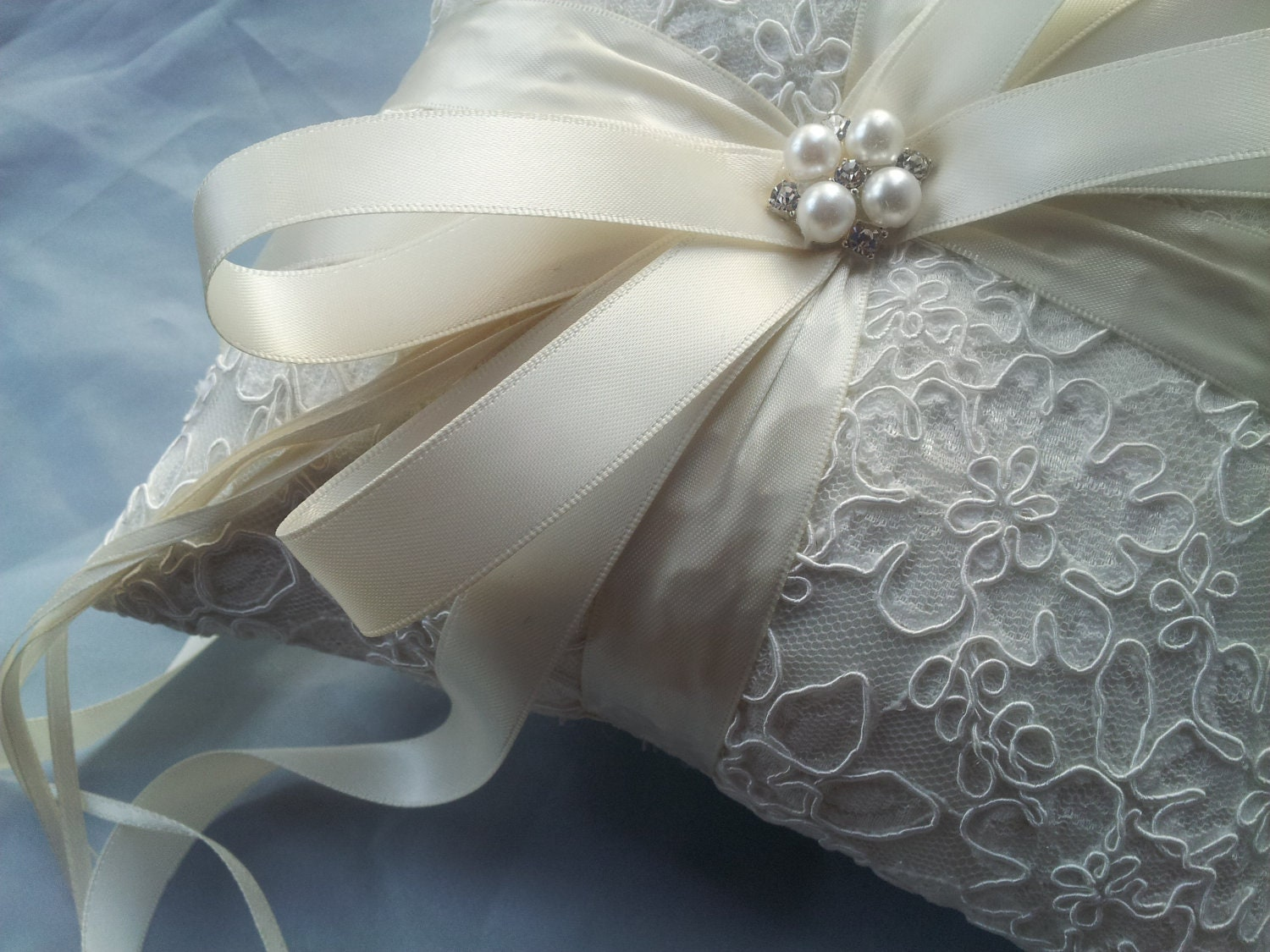 Ivory Ring Bearer Pillow Alencon Lace Ring Pillow Pearl Rhinestone Accent