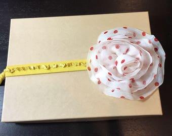 Red and White Polka Dot Flower and Golden Yellow Ruffle Baby Headband