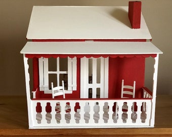 The Little Red Dollhouse Fully Assembled