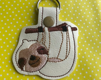 Sloth embroidered key fob
