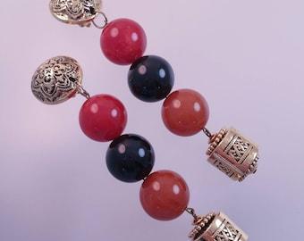 ITALY Black Orange Red Vintage Plastic Ball Earrings, Long Dangle Earrings, Made in Italy Clip On Earrings, Runway Style Earrings