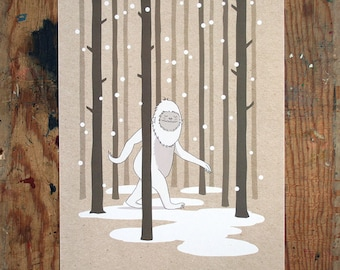 Festive Yeti - A4 Digital Print - Illustration