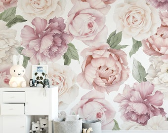 Peony and Rose Floral Wallpaper Mural