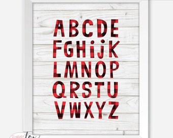 Nursery Art Boy, Buffalo Plaid Baby, Lumberjack Baby, Lumberjack Nursery, Nursery Art Printable, Nursery Art Print, Buffalo Check, Alphabet