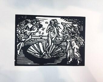 Birth of Venus linoleum carving