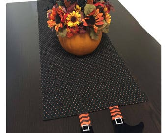 Halloween Table Runner, Halloween Table Decorations, Halloween Quilted Table Runner, Black Table Runner with Orange Polk-Dots and Legs