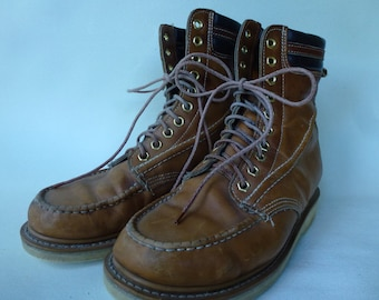 Vintage Work Boots Crepe Sole Leather Brown Leather Vintage Boots Chukka Boots Moccasin Boots