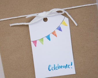 Watercolor celebrate gift tag for birthday, graduation, party
