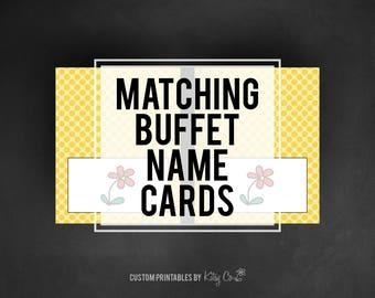 Custom Matching Buffet Name Cards | Printable Digital File