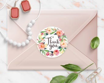 Thank You stickers, Shabby Peach Floral Watercolor Wreath, Round Cut Sticker for Etsy Sellers, Wedding, Party, Matte Lamination Finish,
