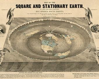 World Map Of Square Stationary Flat Earth 1893 Antique Reprint.  Available on archival paper and canvas.