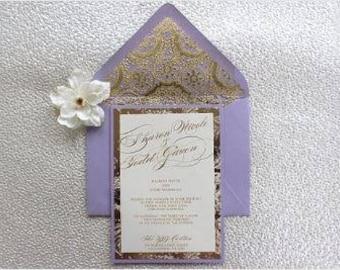 Lilac/Lavender and Gold Invitation