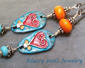 Pewter and Lampwork Beaded Earrings-Heart Pewter Charms-Sterling Silver Earring-Artisan Earrings-Tribal-Primitive-Rustic Earrings-SRAJD