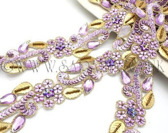 LILAC GOLD RHINESTONE beaded trim, trimming,costume, sequin edging,stones, beads,costume,fashion,art,crafts,sewing,embellishment,decoration