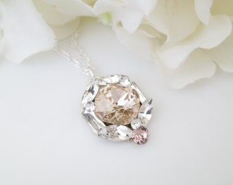 Bridal jewelry necklace, Simple champagne pendant, Swarovski crystal wedding necklace, Bridesmaid necklace, Mother of bride necklace