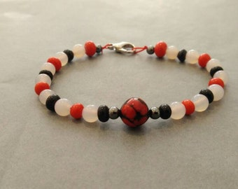 Red and Black Glass Bead Bracelet