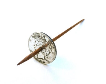 Large Silver Peace Dollar Coin Tahkli Support Spindle for Supported Handspun Lace Yarn Thread - like Russian or Tibetan or Takhli