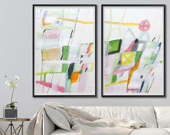 Wall art Giclee Print of Large Abstract Painting 40X28 Green yellow modern art by Duealberi