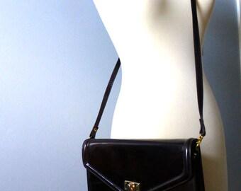 Brown Leather Crossbody Handbag - Clutch Purse 80s Vintage Convertible Shoulder Bag - Structured Purse - Brown Handbag - Leather Purse
