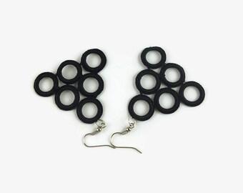 hoop crochet, Black earrings, small hoop earrings, hoop earrings small, light earrings, geometric earrings, statement earring, long earring