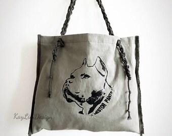 Nestor Pants tote / Pitbull print / Military twill tote / shoulder bag / Military bag - KNB001