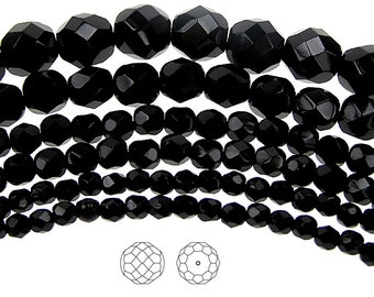 6mm (68pcs) Jet black, Czech Fire Polished Round Faceted Glass Beads, 16 inch strand