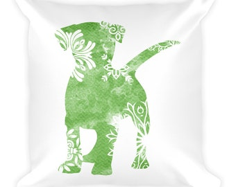 Watercolor Mandala Accent Pillow   18x18 Square Pillow   Dog   Green
