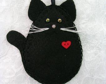 Cat Ornament, Black Cat Ornament, Felt Cat Ornament
