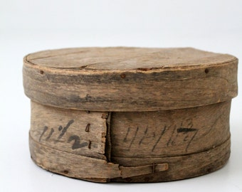 antique cheese box, rustic wood storage box, decorative wooden box
