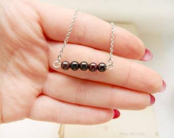 Wanderlast Wine Garnet Choker Minimalist necklace Delicate necklace Simple necklace Burgundy Red pendant Everyday necklace Bridal pendant