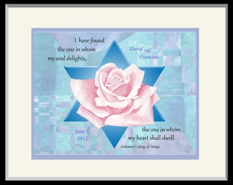 Personalized Jewish Wedding Gift: Song of Solomon,FREE US SHIPPING!  Unique Hand-painted print with Star of David, Great Anniversary Gift!