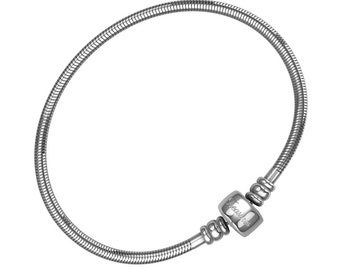 Timeline Treasures Charm Bracelet For Women and Girls, Stainless Steel Snake Chain, Fits European Charms, Barrel Snap Clasp