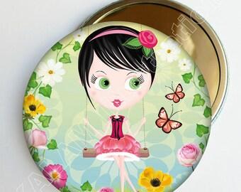 "Small mirror bag ""swing"" yellow green, accessory gift girl"