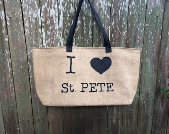 I Love St. Pete: Upcycled burlap tote with billboard lining