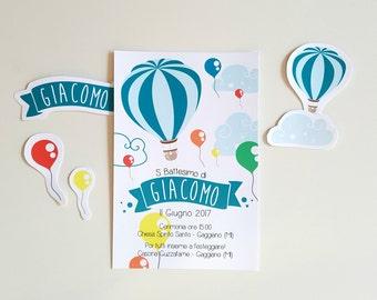 Invito mongolfiera e palloncini, invito personalizzato digitale, invito stampabile, Invito battesimo mongolfiera, invito palloncini