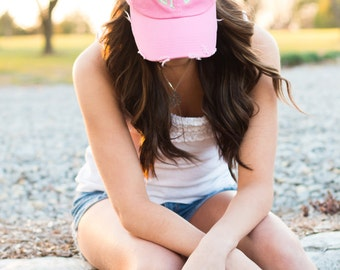 Monogrammed Ball Cap | Monogrammed Baseball Cap | Personalized Birthday Gift | Distressed Baseball Cap | Gifts under 20 | Gift for her