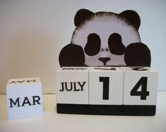 Panda Bear Calendar Perpetual Wood Block Calendar