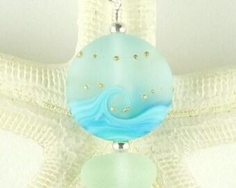 Sea Glass Jewelry, Beach Necklace, Seaglass Jewelry, Wave Necklace, Beach Glass Necklace, Beach Glass Jewelry, Seaglass, Beaded Necklace