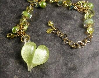 Burst of Spring,  Cluster Charm Bracelet,  Chunky charm bracelet, Lampwork bracelet, Lampwork Heart, Green bracelet, Dicroic heart