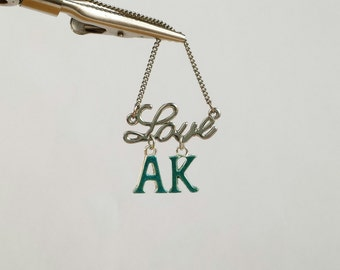 Silver love and teal Ak necklace